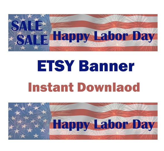 items similar to sale etsy banner labor day sale happy labor day shop banner instant download. Black Bedroom Furniture Sets. Home Design Ideas