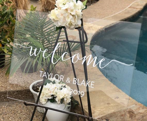 Acrylic Wedding Welcome Sign Wedding Entrance Sign Clear Wedding Sign Custom Wedding Sign Clear Acrylic Sign