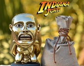 Indiana Jones golden fertility idol 1:1 gold-plated WITH EYES + stand base + sandbag .  Raiders Of The Lost Ark  40th anniversary