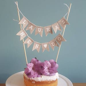 Rustic Natural Hessian Look Pink Polka Dot Handmade Cake Bunting 1st 2nd Birthday Custom Made Personalized Number