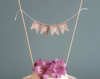 Baby shower cake topper, burlap new baby bunting, hessian cake bunting, simple baby shower, rustic cake topper, Baby, baby shower cake.
