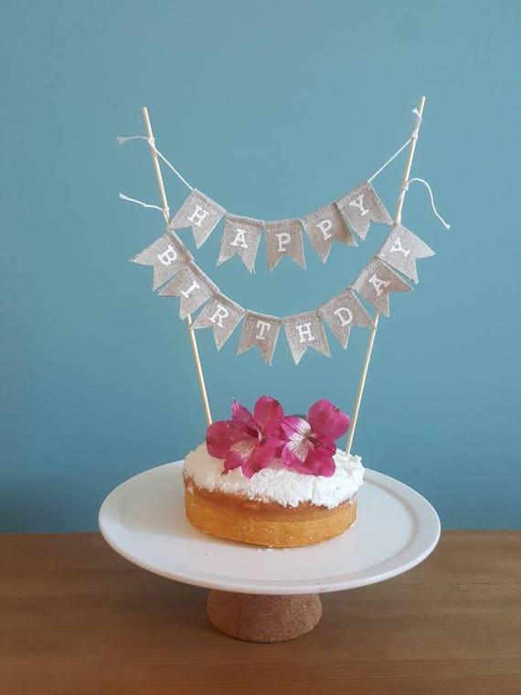 Happy Birthday Cake Bunting Burlap Topper Hessian