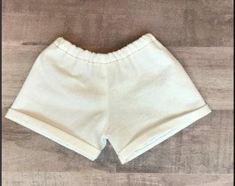 """18 Inch Doll Clothes - Cream Cuffed Shorts, handmade & designed for dolls like American Girl®/18"""" soft body dolls"""
