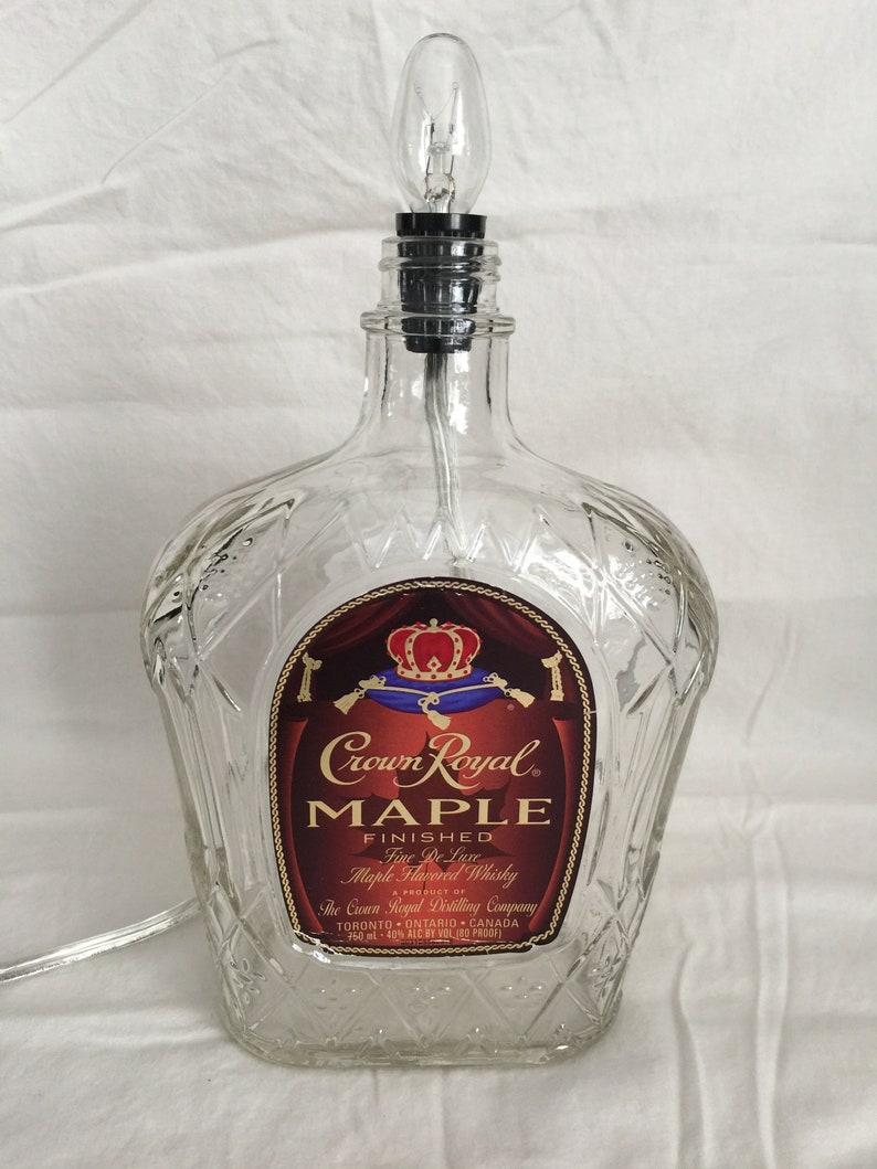 Crown Royal Maple Whiskey Liquor bottle lamp light for bar Man Cave or table with Black fabric shade