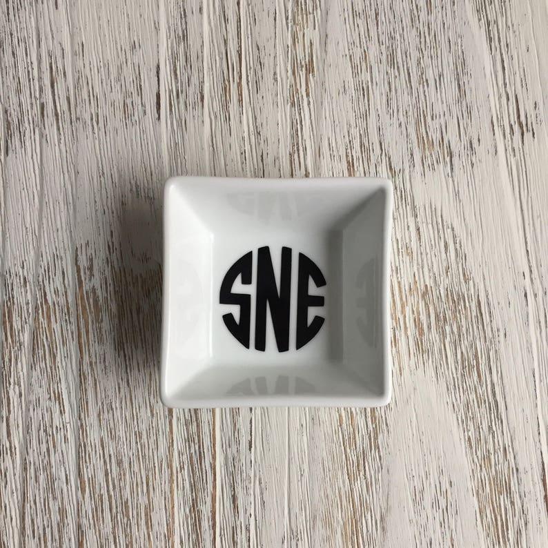 Custom Monogram or Single Initial Ring Dish Engagement Gift Personalized Ring Dish