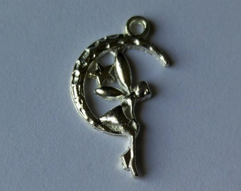 Jewelry Angel Moon Star Jump ring Fairy Pendants 1  Silver Plated Moon Fairy Charm
