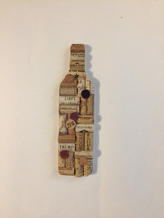 Wine Bottle Upcycled Cork Wall Art Upcycled Home Decor Etsy