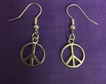 Peace Silver Plated Drop Earrings