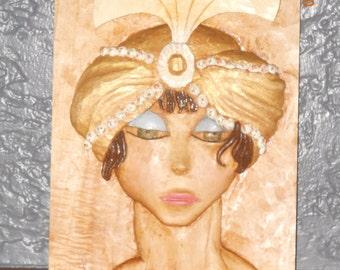Art Deco carved girl