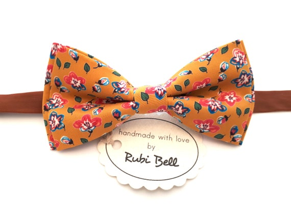 4e347eb25a6f Yellow Floral Bow Tie Mustard Bow Tie With Small Flowers   Etsy