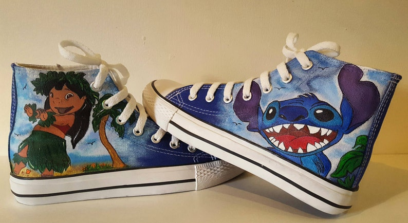 Disney Lilo and Stitch Hand-Painted custom boots image 0