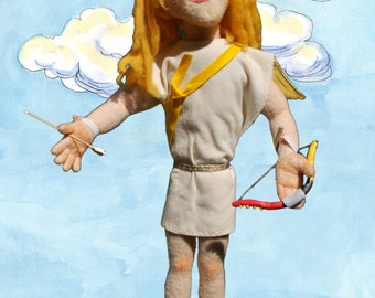 Hand-felted Cupid professional wool stick Bunraku-type puppet by Rebecca Migdal