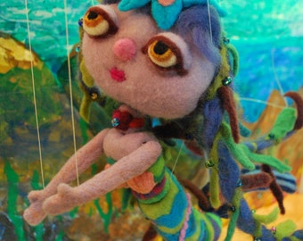 Mona the Mermaid felted marionette puppet by Rebecca Migdal