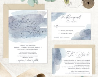 Watercolor Wedding Invitation. Printable Invitation. Blue Silver Invitation. Watercolor Brush Invitation. Brush Font. Blue Watercolor Brush