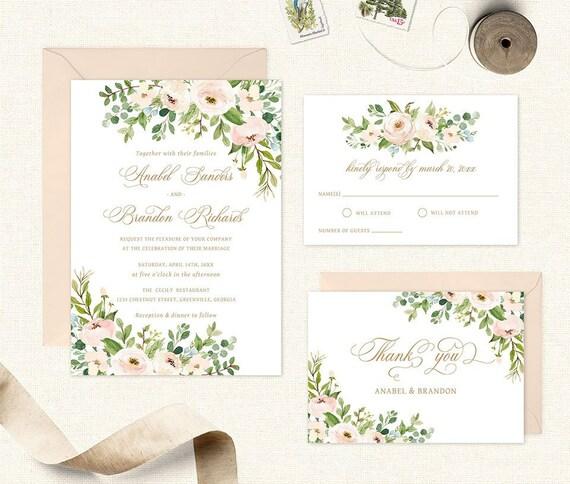 bb845aa99803 Floral Greenery Wedding Invitation. Printable Wedding