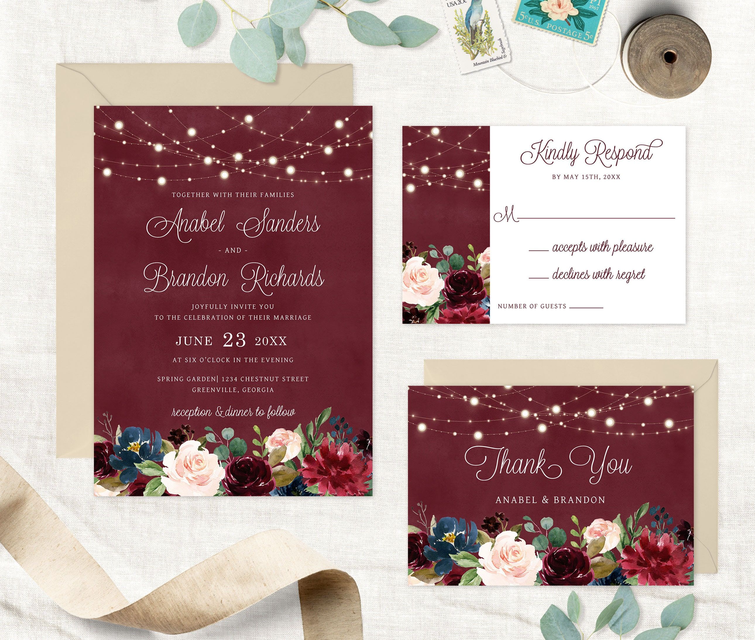 Floral Burgundy String Lights Wedding Invitation. Printable | Etsy