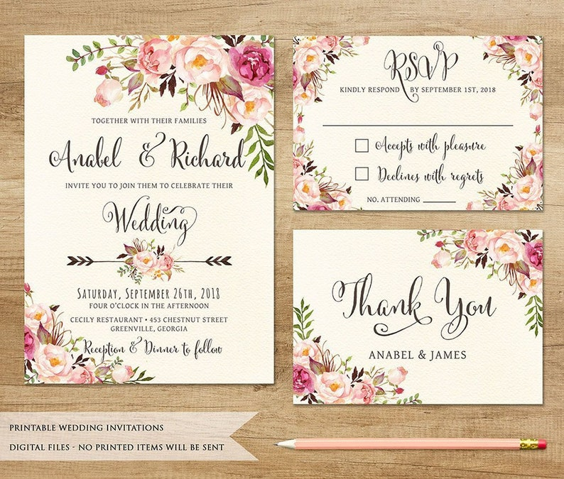 graphic about Etsy Wedding Invitations Printable named Floral Marriage Invitation. Printable Marriage ceremony Invitation. Rustic Invitation. Boho Marriage Invitation. Bohemia Marriage ceremony. State Marriage Invite