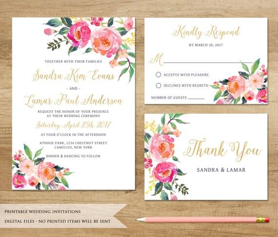 Watercolor Floral Wedding Invitation. Printable Wedding