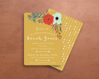 Yellow and Floral Bridal Shower Invitations