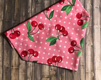 Pink Spotted Cherries Over The Collar Bandana