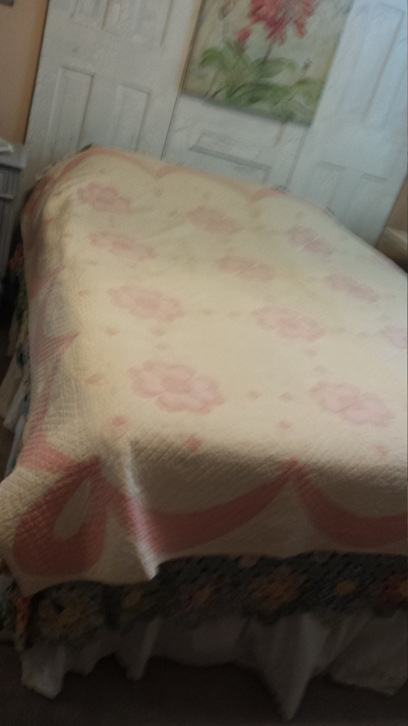 Vintage Pink and White Hand Made Quilt