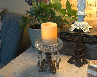 Adorable Vintage Brass and Crystal Candel Holder with real Crystals.