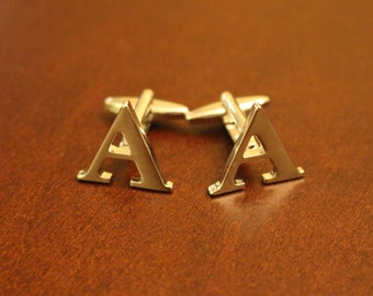 Stainless Steel Lettered Initials Cufflinks - Letter A