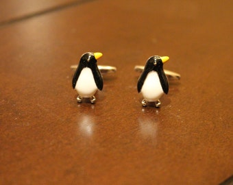 Stainless Steel Penguin Silver Cufflinks
