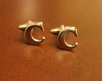 Stainless Steel Lettered Initials Cufflinks - Letter C