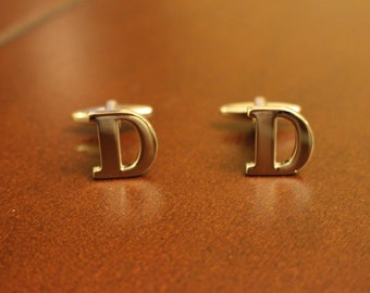Stainless Steel Lettered Initials Cufflinks - Letter D