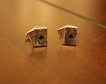 Stainless Steel Poker and Playing Cards Cufflinks