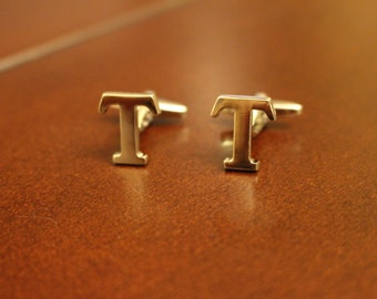 Stainless Steel Lettered Initials Cufflinks - Letter T