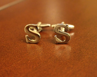 Stainless Steel Lettered Initials Cufflinks - Letter S