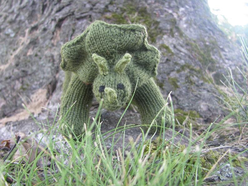 Large Triceratops Knitting Pattern image 0