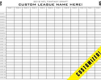 picture regarding Fantasy Football Draft Sheets Printable Blank called Myth soccer draft board Etsy