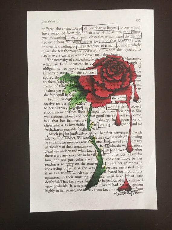 La Rose Fanee Blackout Poesie Poeme Art Dessin Art Fait Etsy