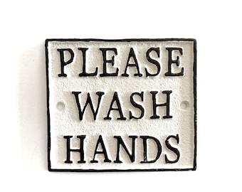 Please Wash Hands Sign, Washroom Sign, Metal Sign, Bathroom Sign