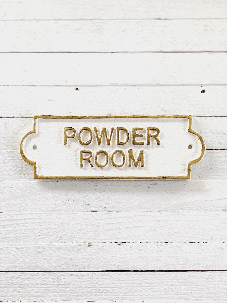Powder Room Door Sign French Bathroom Door Sign Door Plaque image 1