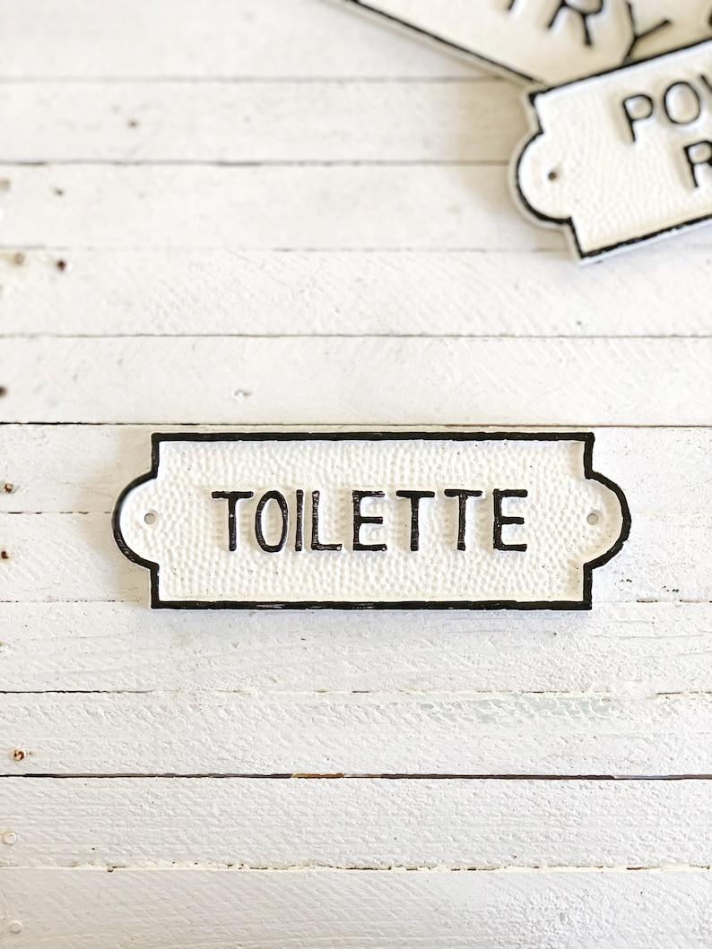 Large Toilette Door Sign French Bathroom Door Sign Door image 0