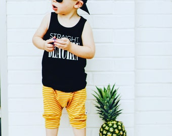 Harem, baby shorts, kids shorts, pants, bummies, boys shorts, yellow stripe, hipster, kids apparel, modern baby, summer shorts