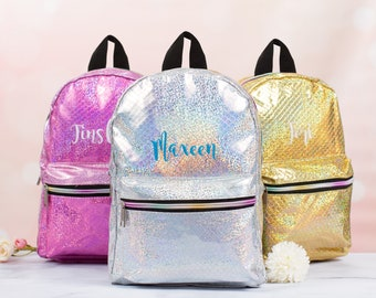Glitter backpack with custom embroidery