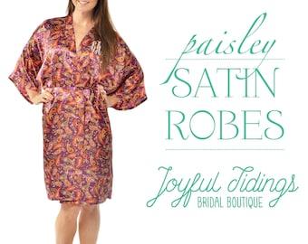 9d86ac1d70 BULK SALE Set of 7+ Personalized Purple Paisley Satin Robes