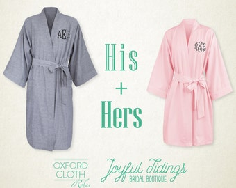 fa1c13cd9e His and Hers Personalized Oxford Robe Set