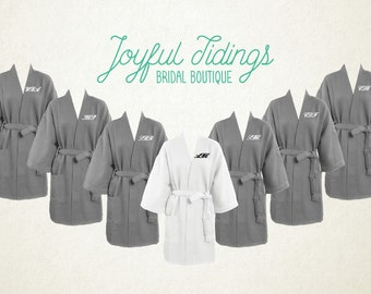 4082b4a045 FREE ROBE Set of 7+ Personalized Grey Waffle Robes