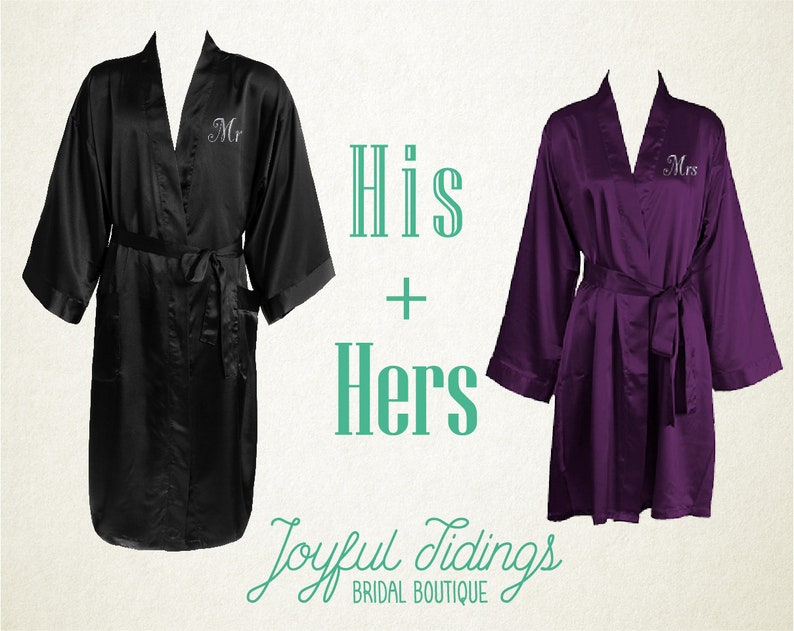 5a9fb46060 His and Hers Personalized Satin Robe Set Couples Gift Gift