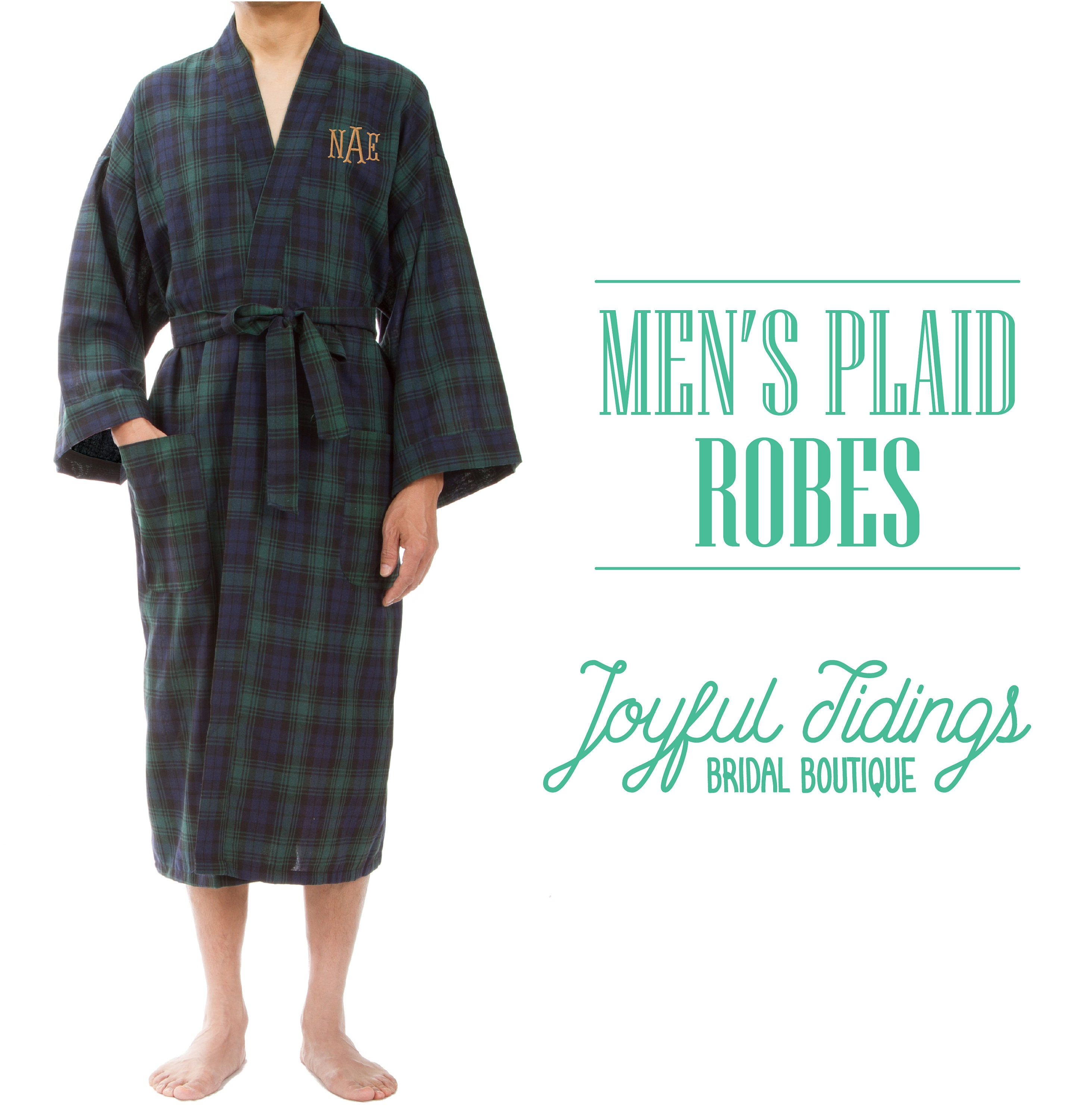 SALE Personalized Men\'s Plaid Robes Groomsmen Robes