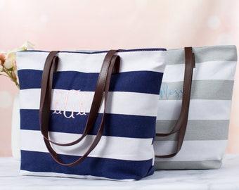 SALE Bridesmaid Gift, Personalized Tote Bag, Bridal Gift Stripe Totes, Bridesmaids Bag, Bridal Party Bags, Set of Tote Bags, Monogram Tote