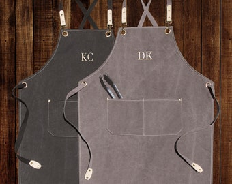 Personalized Canvas Apron, Custom Birthday Gift for Him, Bartender's Apron, Embroidered Apron for Cooking, Barbeque Apron, Men's Chef Apron