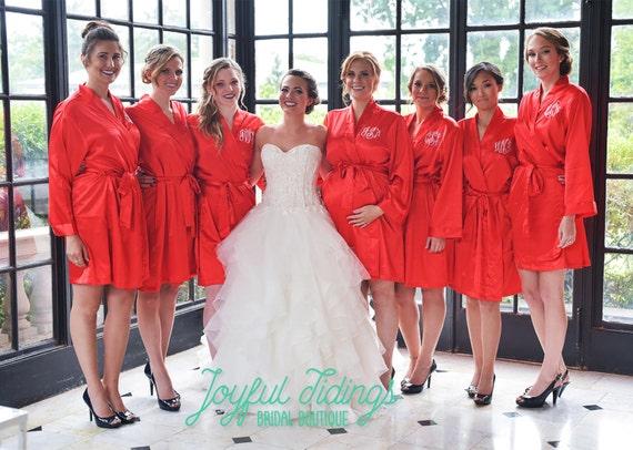18b11da0d1 Set of 7 Personalized Satin Robes Bridesmaids Gift Bridal