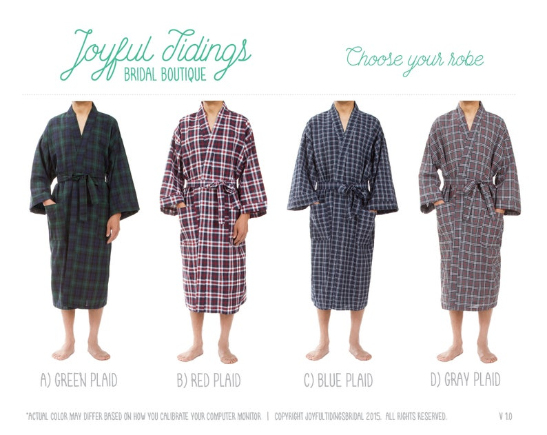 adcc0bd54a SALE Personalized Men s Plaid Robes Groomsmen Robes